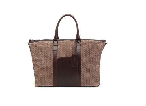 BORSA WEEKEND MARRONE IN SUEDE SERIGRAFATO