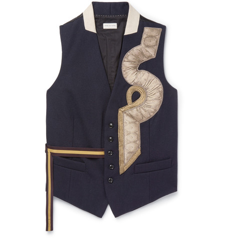 DRIES VAN NOTEN Appliquéd Wool Waistcoat.jpg